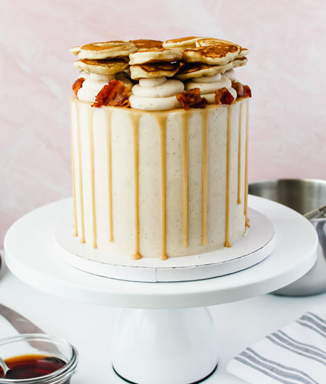 Maple Cinnamon Pancake Cake with Candied Bacon